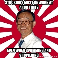 Crazy Perverted Japanese Businessman - stockings must be worn at aruu times even when swimming and showering