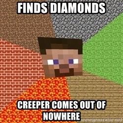 Minecraft Guy - finds diamonds creeper comes out of nowhere