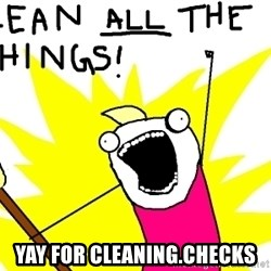 clean all the things -  yay for cleaning.checks