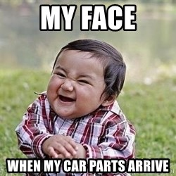 Evil Plan Baby - My face When my car parts arrive