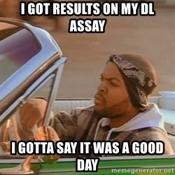 Good Day Ice Cube - I got results on my DL assay I gotta say it was a good day