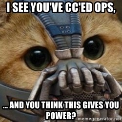 bane cat - I see you've cc'ed ops, ... and you think this gives you power?