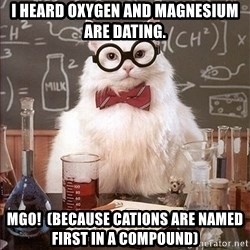 Science Cat - I heard oxygen and magnesium are dating. MGO!  (because Cations are named first in a compound)