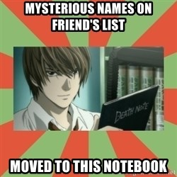 death note - Mysterious names on friend's List Moved to this notebook