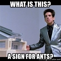Zoolander for Ants - What is thIs? A sign for ants?