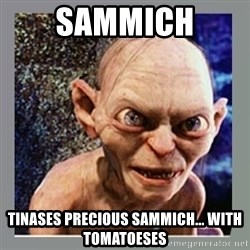 Smeagol - Sammich Tinases precious sammich... with tomatoeses