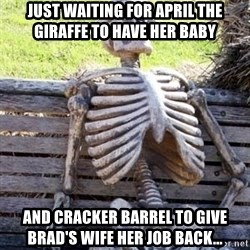 Waiting Skeleton - Just waiting for April the giraffe to have her baby  And cracker barrel to give Brad's WIFE her job back...