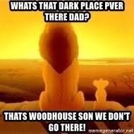 The Lion King - Whats that dark place pver there dad? Thats woodhouse son we don't go there!