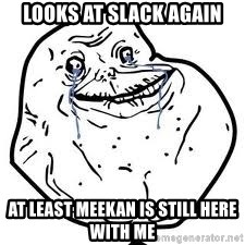 forever alone 2 - Looks at Slack again at least meekan is still here with me