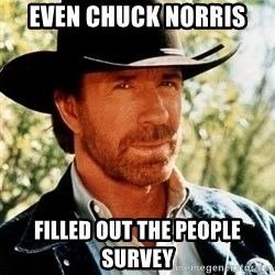 Chuck Norris Pwns - even chuck norris filled out the people survey