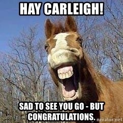 Horse - HAY Carleigh! sad to see you go - but congratulations.