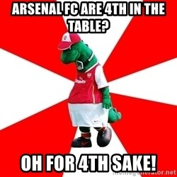 Arsenal Dinosaur - Arsenal fc are 4th in the table? oh for 4th sake!