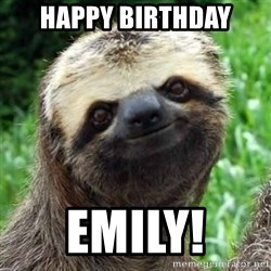 Sarcastic Sloth - Happy birthday Emily!