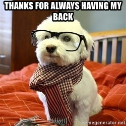 hipster dog - Thanks for always having my back