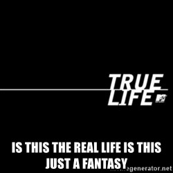 true life -  is this the real life is this just a fantasy