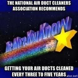 The more you know - THE NATIONAL AIR DUCT CLEANERS ASSOCIATION RECOMMENDS getting your air ducts cleaned every three to five years