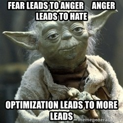 Yodanigger - Fear leads to anger     anger leads to hate Optimization leads to more leads