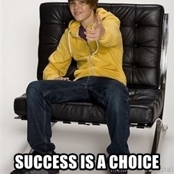 Justin Bieber Pointing -  success is a choice