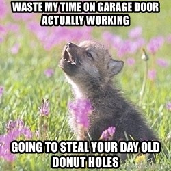 Baby Insanity Wolf - Waste my time on garage door actually working Going to steal your day old donut holes