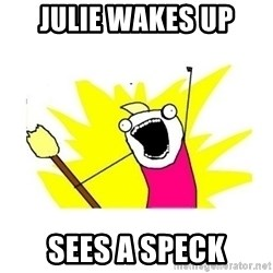 clean all the things blank template - Julie wakes up Sees a speck