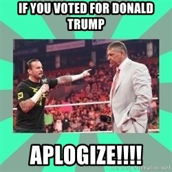CM Punk Apologize! - if you voted for donald trump aplogize!!!!