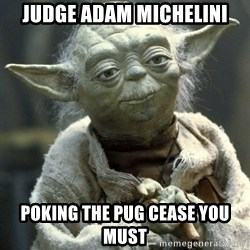Yodanigger - judge adam michelini poking the pug cease you must