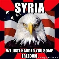Bald Eagle - Syria  We just handed you some freedom