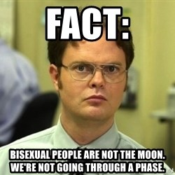 Dwight Meme - fact: bisexual people are not the moon. we're not going through a phase.