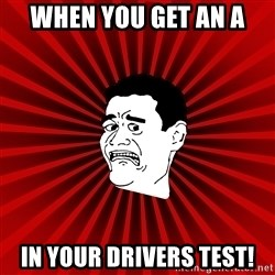 Afraid Yao Ming trollface - when you get an a in your DRIVERS test!