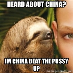 Whispering sloth - heard about china? Im china beat the pussy up