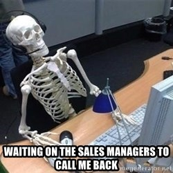 skeleton waiting still again -  waiting on the sales managers to call me back
