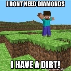Minecraft Guy - i dont need diamonds i have a dirt!