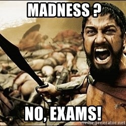 This Is Sparta Meme -  MADNESS ? NO, EXAMS!