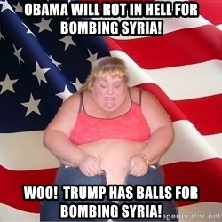 Asinine America - obama will rot in hell for bombing syria! woo!  Trump has balls for bombing syria!