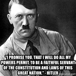 """Hitler Advice -  """"I promise you, that I will do all my powers permit, to be a faithful servant of the Constitution and laws of this great nation."""" - Hitler"""
