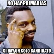 Black guy thinking  - No hay primarias Si hay un solo candidato