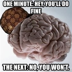 Scumbag Brain - One minute: HEY, YOU'LL do fine The Next: No, you won't.
