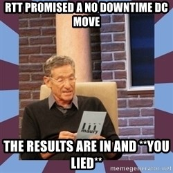 maury povich lol - RTT Promised a no downtime dc move the results are in and **you lied**