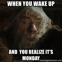 gandalf run you fools closeup - when you wake up  and  you realize it's monday
