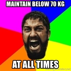 sparta - MAINTAIN BELOW 70 KG AT ALL TIMES