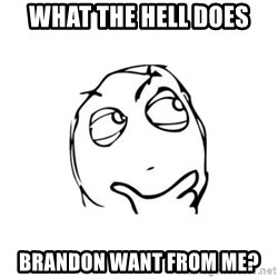 thinking guy - what the hell does brandon want from me?