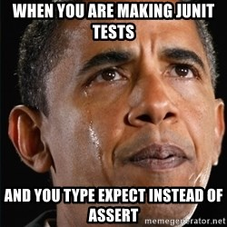 Obama Crying - When you are making JUNIT tests and you type EXpect instead of assert