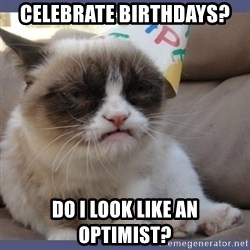 Birthday Grumpy Cat - celebrate birthdays? Do i look like an optimist?