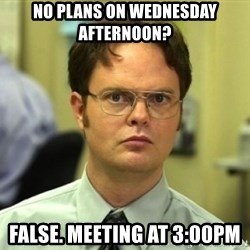 Dwight Meme - No plans on Wednesday afternoon? FALSE. MEETING AT 3:00PM