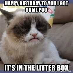 Birthday Grumpy Cat - happy birthday to you i got some poo it's in the litter boX