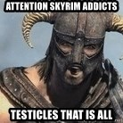 Skyrim Meme Generator - attention skyrim addicts testicles that is all