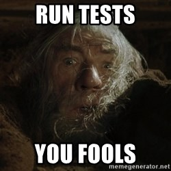 gandalf run you fools closeup - RUN TESTS YOU FOOLS