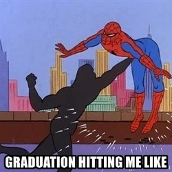 crotch punch spiderman -  graduation hitting me like