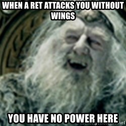 you have no power here - when a ret attacks you without wings you have no power here