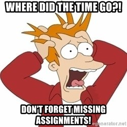 Fry Panic - WHERE DID THE TIME GO?! don't forget missing assignments!